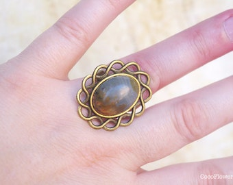 Brown Jasper ring, Gemstone Rings, Adjustable, Arty, Tracery, Rustic jewelry, Autumn season, Fall color, earth tone, earthy, natural, stone