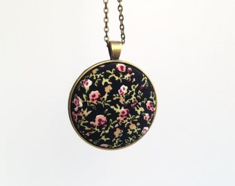 Boho tiny flower long pendant necklace - Fabric covered button necklace - Black floral necklace antique brass - Boho pendant Fall fashion