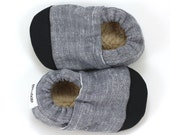 gray linen shoes, linen booties, black and grey, rubber sole shoes, toddler slippers, soft sole shoes, cloth baby boy shoes, baby girl gray