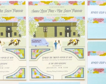 Book inspired custom illustrated wedding invitation and rsvp