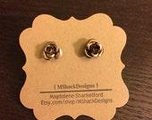Brown aluminum rose stud earrings