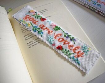 "DIY Cross Stitch Bookmark Kit ""You are lovely"". Self Love Self Confidence Botanical Print Floral Cross Stitch."