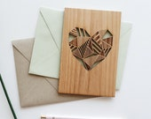 Valentine Card, Geometric Heart Wood Love Card