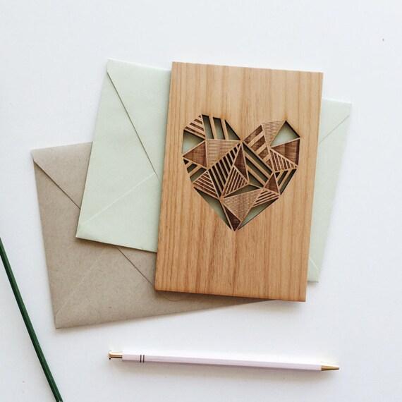 Carte de Saint Valentin carte, carte géométrique coeur amour bois