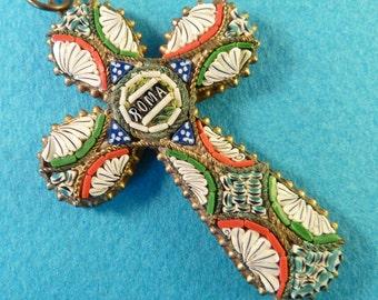 Vintage italian millefiori micro mosaic glass Murano cross Benedict XV  Roma collectible  jewelry crucifix  FV1