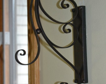 Two Black Metal Scroll Plant Hanger - Corner Window