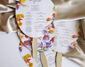 Wedding fan, program wedding fan, tropical program fan for wedding - Buenos Aires design