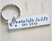 New Dad Gift - Daddy Established In 2016 Key Chain - Father's Day Gift - Custom Hand Stamped Dad Keychain - Personalized Key Ring