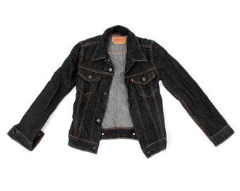 Vintage Levis For Girls Black Denim Jacket Size XS