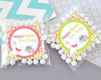 Cute Happy Easter Bunny egg hunt gift tags -Personalized Printable DIY File
