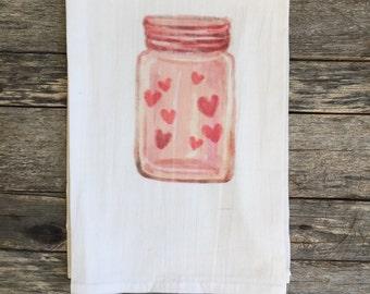 Valentines Mason Jar Tea Towel