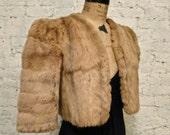 40s Blonde Ermine Fur Bolero Jacket - Stylish and Sexy