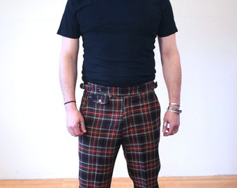 70s Izod Plaid Pants, Red & Green Plaid Wool Trousers, Golf Pants, Preppy Pants, Mod Pants, Izod Trousers, 36 Waist, 30 Inseam