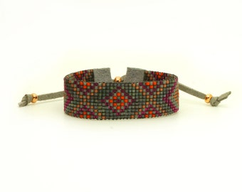 Bohemian Bracelet - Ethnic Bracelet - Boho Jewelry - Statement Bracelet - Gray Burgundy Terracotta Copper Bracelet - Seed Bead Bracelet