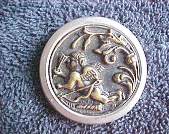 "Vintage Button - Cupid Angel with Arrows and Quiver - 1 5/8"" Antique Golden and Silvery Button - High Relief Sculpted Metal Picture Button"