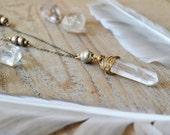 Raw Crystal Necklace - bohemian crystal jewelry  - healing crystal necklace - raw quartz point necklace