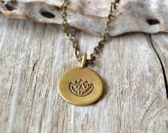 Lotus necklace - yoga jewelry - brass lotus necklace -  yoga necklace - lotus jewelry - reiki infused jewelry