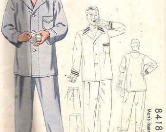 """Vintage 1935 McCall 8418 Men's Pajamas Sewing Pattern Size 42  Chest 42"""""""