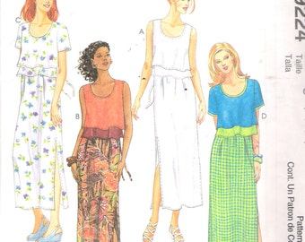 "1998 McCall's 9224 Misses Dress Sewing Pattern Size C 10,12,14 Bust 32 1/2"", 34"", 36"" UNCUT"
