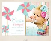 Pinwheel Invitation - Pinwheel Birthday Invitiation - First Birthday - Second Birthday - ANY Age ANY Colors - Girl or Boy - Printable Invite