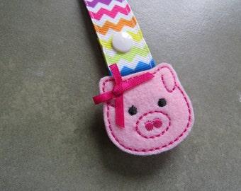 Pacifier Leash Paci Clip - Pig with Bow Feltie Metal Pacifier Clip