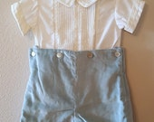 Vintage Boys Blue Velvet Shorts and White Shirt by C.I. Castro - Size 18 Months- New, never worn