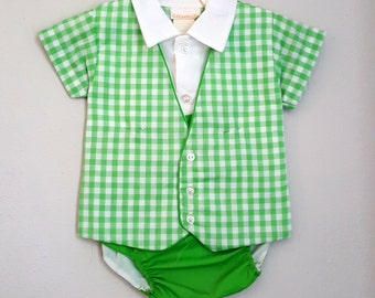 Vintage Baby Boy Green Gingham Diaper Set by C.I. Castro- Size 6-12 months- New, never worn