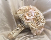 ROSE GOLD BOUQUET, Custom Pink and Gold Brooch Bouquet,Balance for Completed Order for Seulgi Only