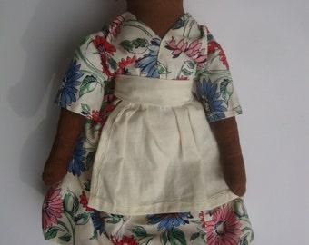 Vintage 9 1/2' Black cloth doll: All original, unknown origin