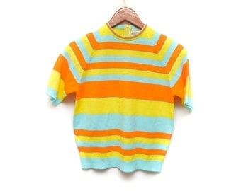 70s Neon Striped Knit Blouse Women's Small