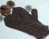 """Qiviut Mittens for women """"Hernando Island"""" - handknit in pure qiviut (muskox underdown, called the cashmere of the north) with cable pattern"""