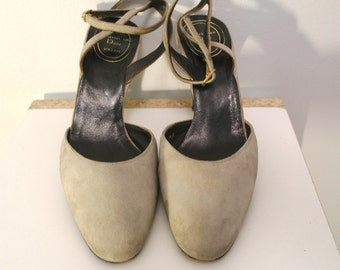 CHRISTIAN DIOR Vintage 90 Light Gray Suede Stilettos
