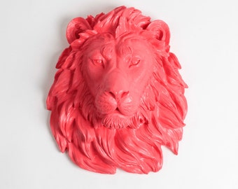 Safari Decorations Large Faux Resin Lion Head - Faux Taxidermied - The Thea - Coral Resin Lion Head- White Faux Taxidermy Trendy Decorations