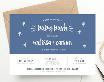 Baby Bash Modern Color Block Invitation | Couples Baby Shower | Baby Sprinkle or Sip + See | Printed or Digital File DIY