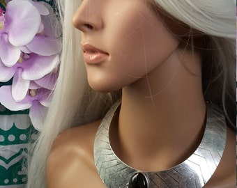 Silver cosmic collar with rainbow Labradorite