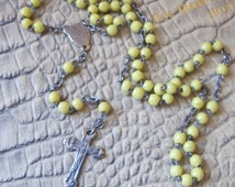 French Yellow Glass & Silver Metal Chaplet. Purse POCKET Palm Sized Catholic Faith Religious Prayer Hail Mary Beads. Marian Devotion Mary
