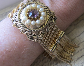Victorian Revival Gold Tone Mesh Bracelet with Fringe & Costume Jeweled Details. Romantic Old World Style Costume Fashion Jewelry. REVIVAL