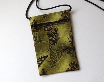 Pouch Zip Bag BUTTERFLY Olive Green Fabric.  Great for walkers markets travel.  Cell Phone Pouch. fabric purse. Evening purse gold accents.