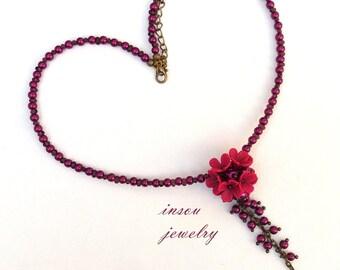 Flower Necklace, Pearl Necklace, Wedding Necklace, Purple Necklace, Romantic Necklace, Statement Necklace, Flower Jewelry, Handmade Necklace