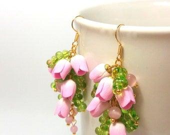 Wedding Flower Earrings, Pink Earrings, Tulip Jewelry, Handmade Earrings, Spring Jewelry, Flowers, Pink Jewelry, Pink Tulips, MADE TO ORDER