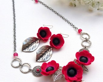 Flower Jewelry Hot Pink Jewelry Anemone Windflower Pink Jewelry Flower Necklace flower Earrings Polymer Jewelry Spring jewelry Gift For Her
