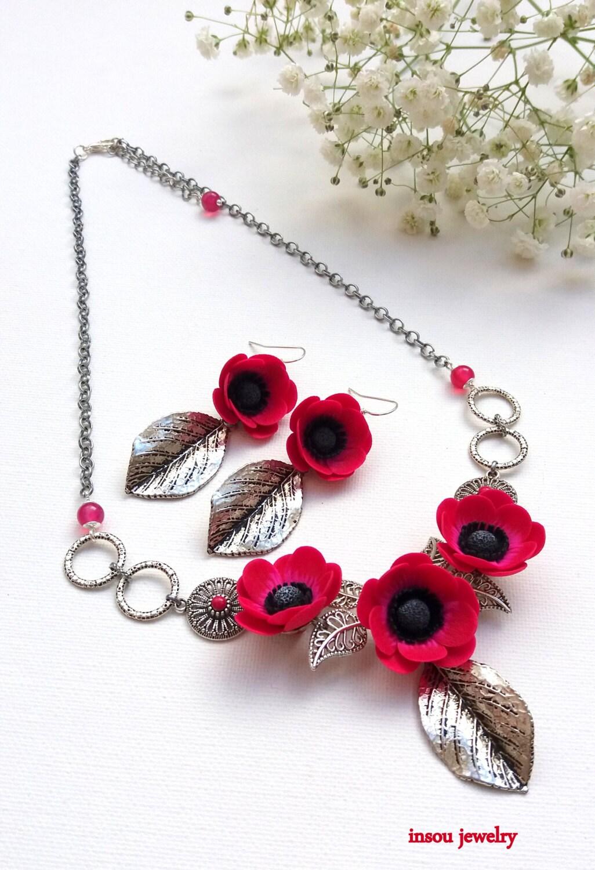 Flower Jewelry Hot Pink Jewelry Anemone Windflower Pink