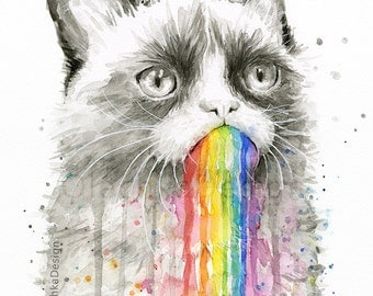 Grumpy Rainbow Cat, Watercolor Print, Grumpy Cat, Grumpy Cat Art, Cat Print, Taste the Rainbow, Whimsical Animal, Funny Meme Print,