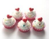 Vanilla Sprinkle Cupcakes - 5 pcs | Kawaii Decoden Supplies | Resin Cabochons | Miniature Sweets | DIY Phone Case