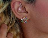 Coloured Circle Stud Earrings-Sterling Silver-Mini Earrings-tiny hoop earring