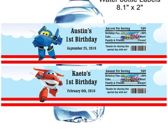 Unique Personalized Super Wings Birthday, Baby Shower Party Favor Water Bottle Labels