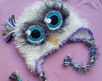 Cute Fluffy Furry Fuzzy Crochet White, Gray, Teal & Purple Owl Baby Hat And/Or Matching Bottoms