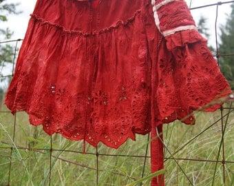Altered Couture, Wearable art, Upcycled Recycled skirt, Free People skirt, tribal skirt, festival skirt, Slow Fashion skirt, Faery skirt