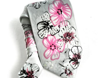 Hand Painted Silk Tie. Floral Handmade Pink Silver Tie. Grooms Wedding Tie. Gift for Him. Mens Fashion. Fine Silk Art. Ready to Ship