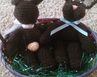 Crocheted BUNNY RABBIT - brown w pink ribbon